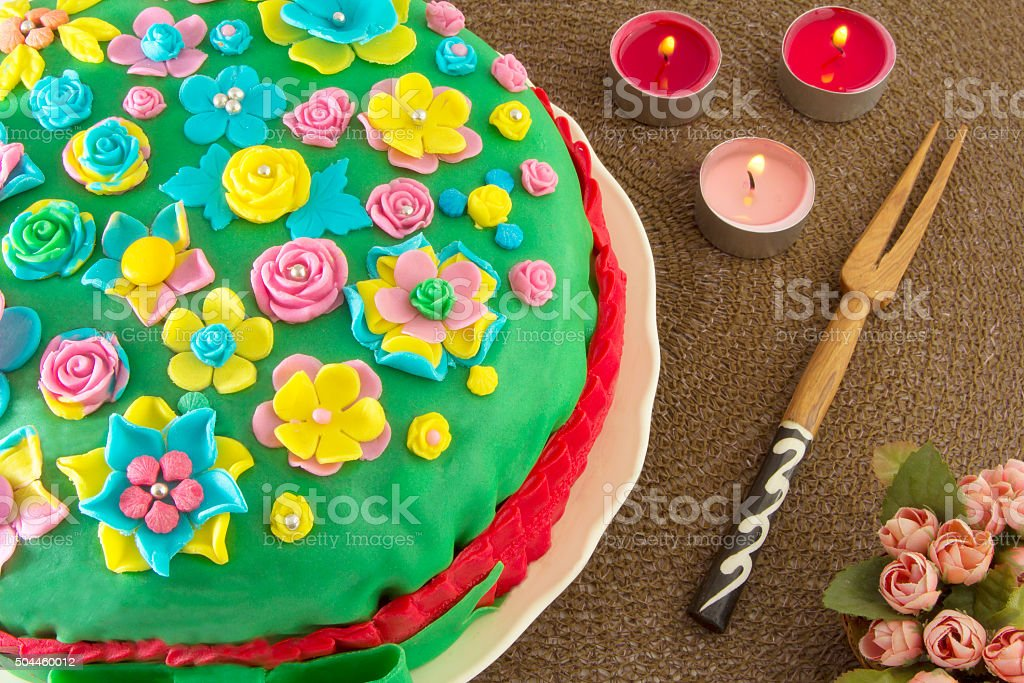 Detail of festive sugar cake . stock photo