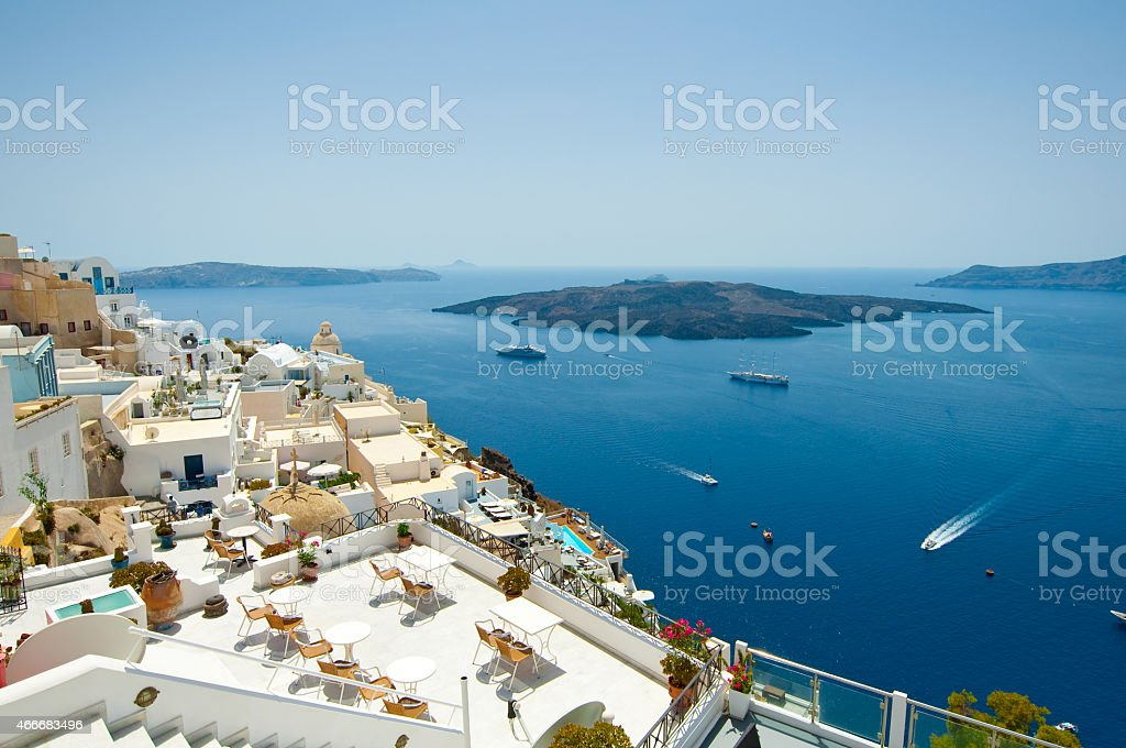 Detail of Fira cityscape on the island of Thera(Santorini), Greece. stock photo