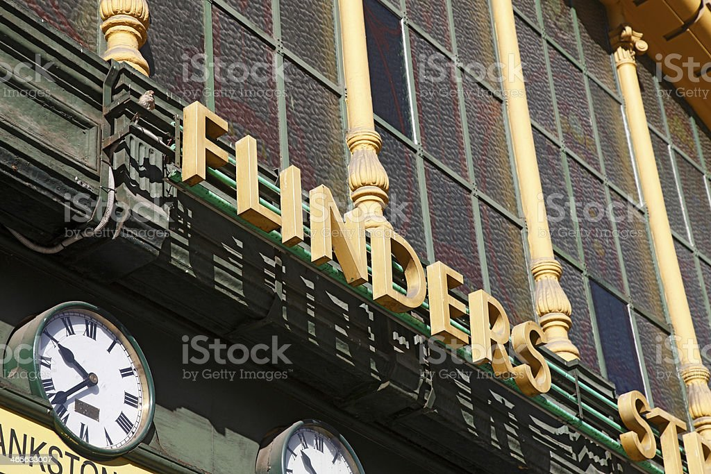 Detail of Flinders Street Station exterior royalty-free stock photo