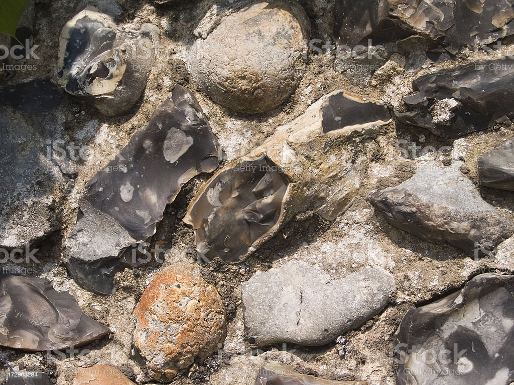 Detail of flint stone wall, typical East Anglia region stock photo