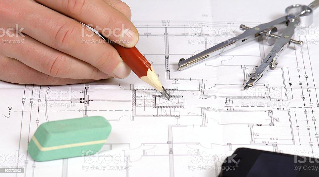 detail of floor plan stock photo