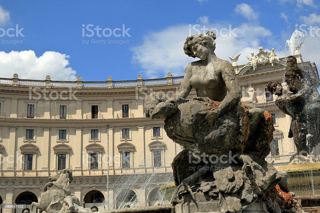 Detail of Fontana delle Naiadi in Piazza della Republica. Rome stock photo