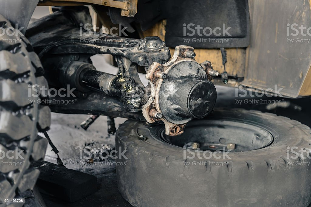 detail of  forklift Axle on service in garage stock photo