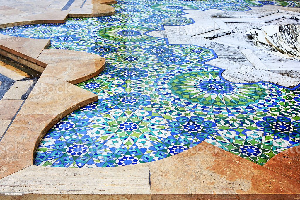 Detail of fountains in Hassan II mosque royalty-free stock photo