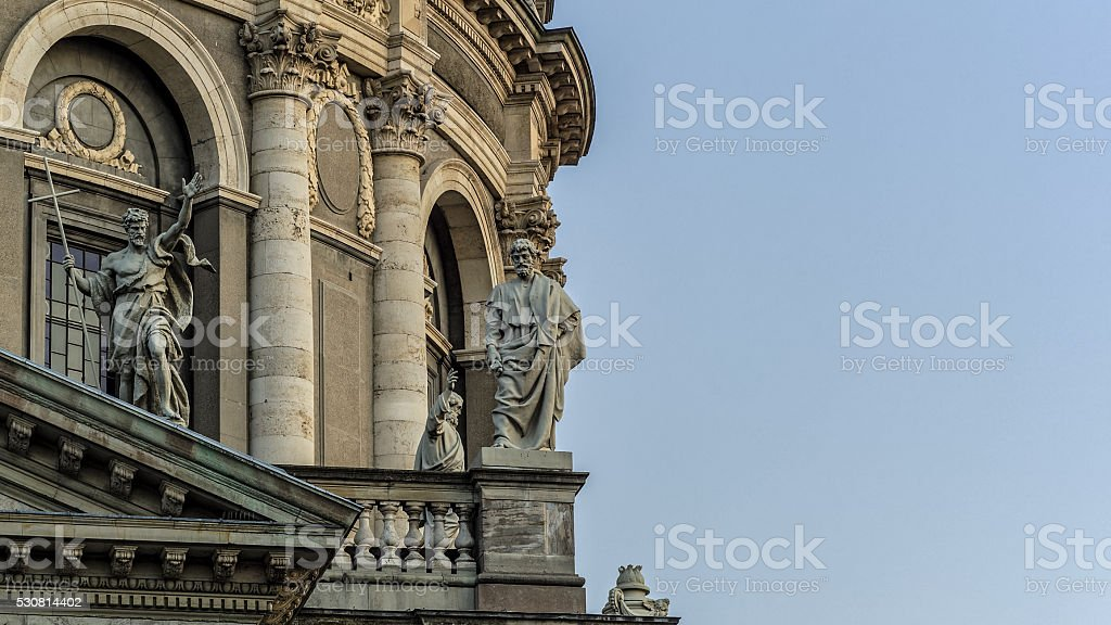 Detail of Frederik's Church's sculptures. stock photo