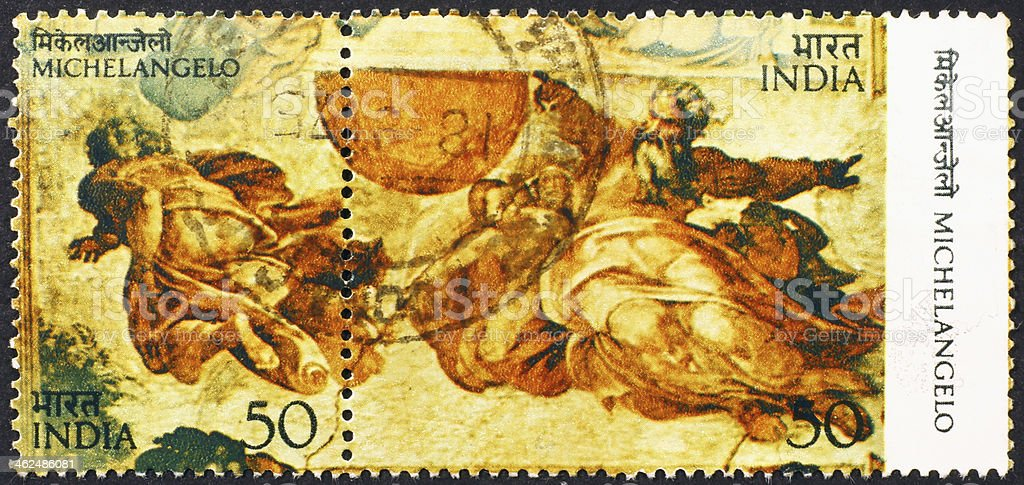 Detail of fresco in Sistine Chapel on stamp stock photo