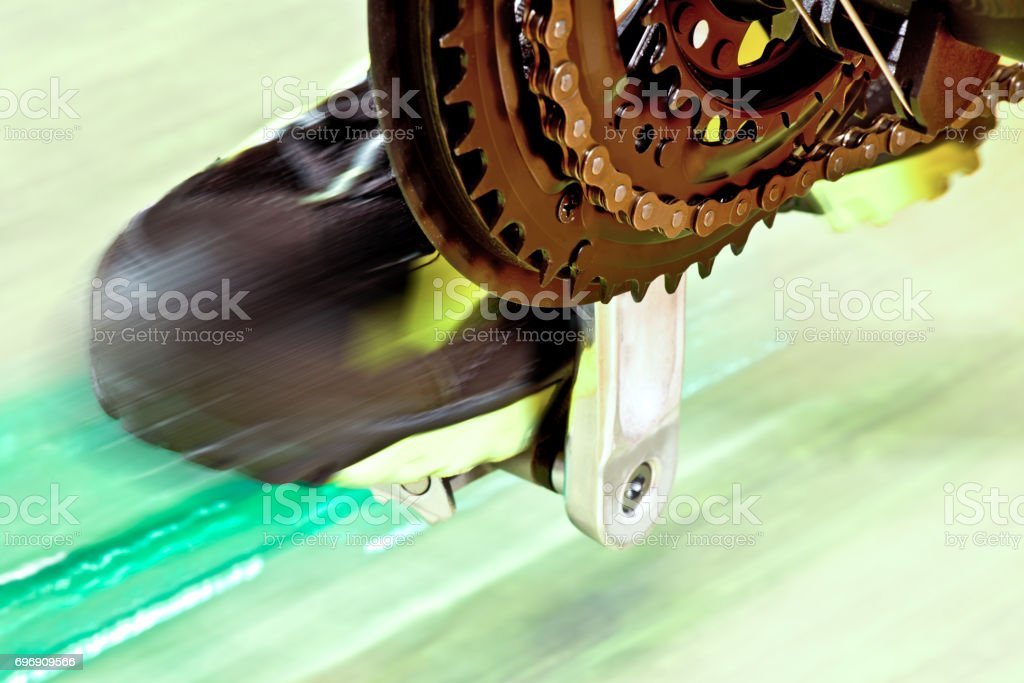 Detail Of Front Derailleur With Cycle Track stock photo