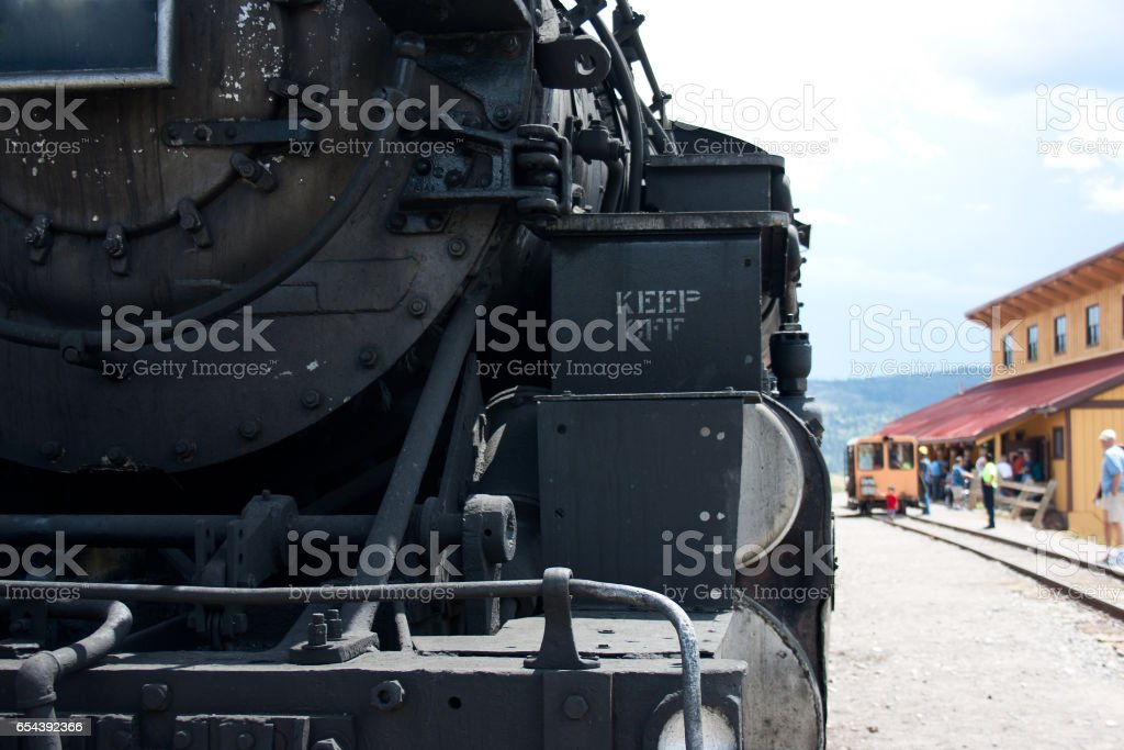 Detail of Front of Steam Engine Railroad stock photo