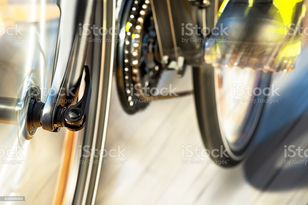 Detail Of Front Wheel With Front Derailleur stock photo