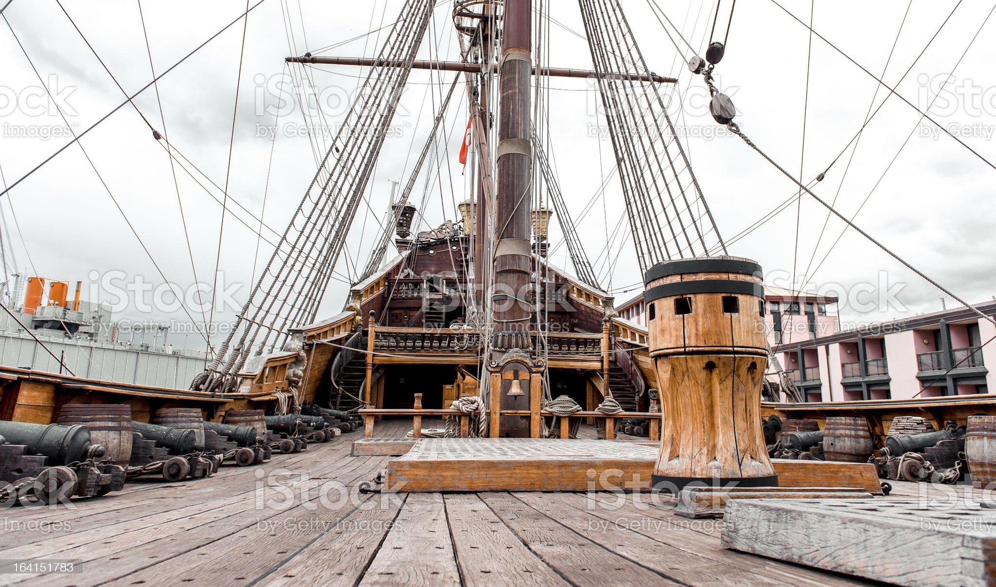 Detail of Galeone Neptune ship royalty-free stock photo