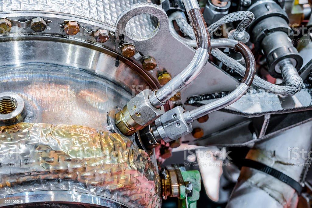 Detail of gas-turbine auxiliary power unit. stock photo