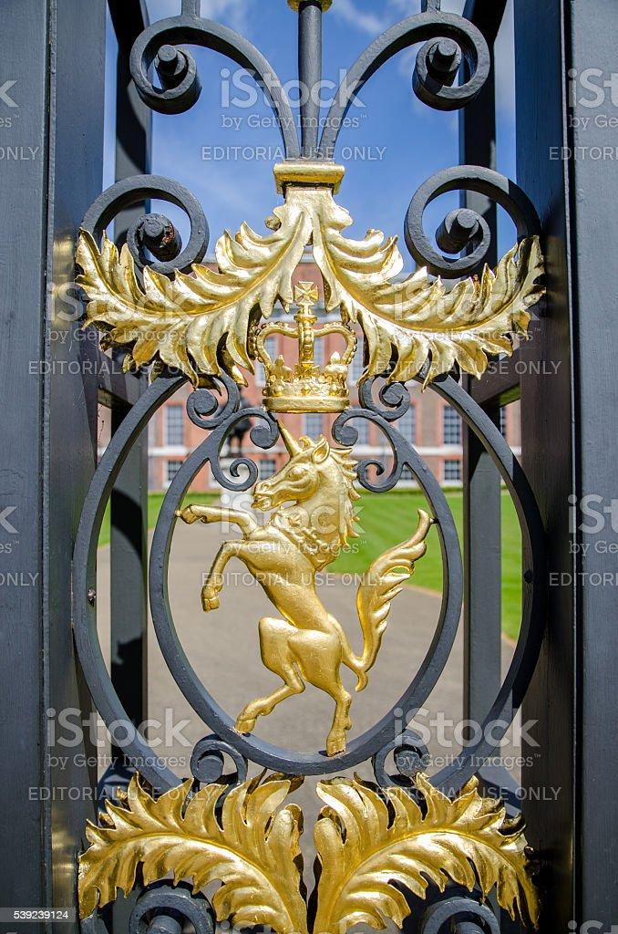 Detail of Gate side of Kensington Palace - Unicorn stock photo
