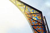 Detail of glass design of Boqueria market in Barcelona