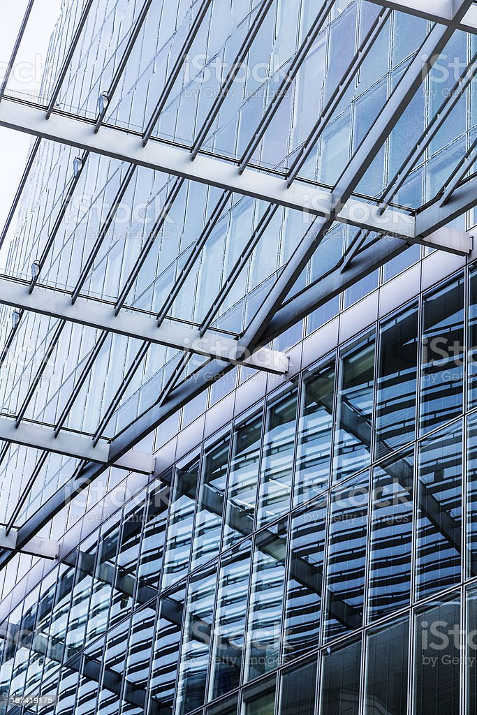 detail of  glass roof mirroring in a modern skyscraper royalty-free stock photo