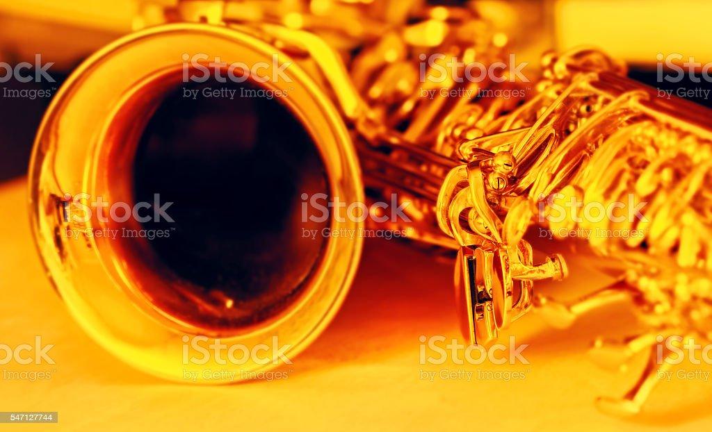 Detail of gold saxophone stock photo