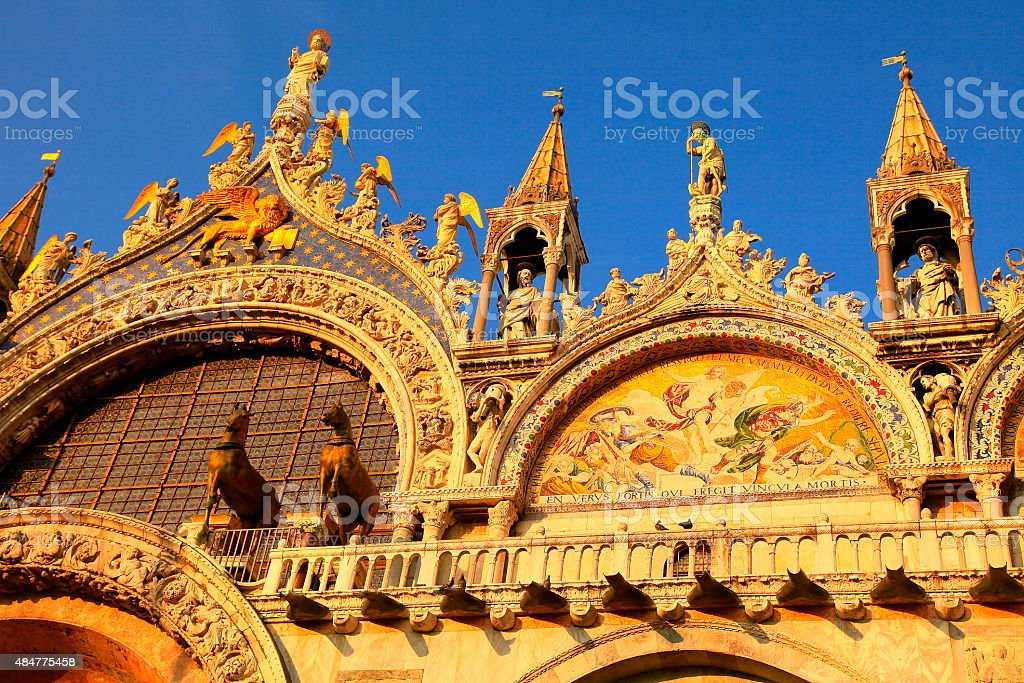 Detail of gold St. Marks Cathedral at sunset, Venice, Italy stock photo
