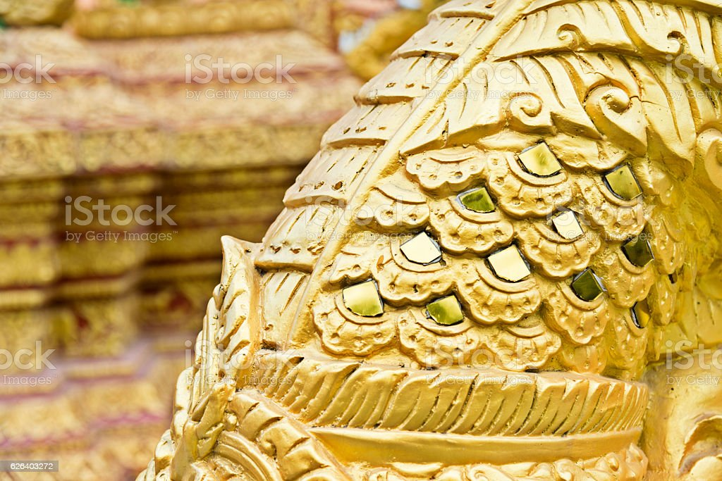 Detail of golden temple dragon stock photo