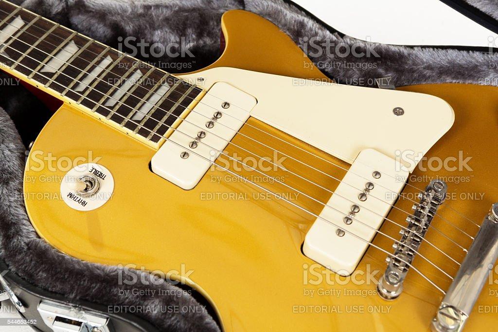 Detail of goldtop '56 Les Paul Pro electric guitar stock photo