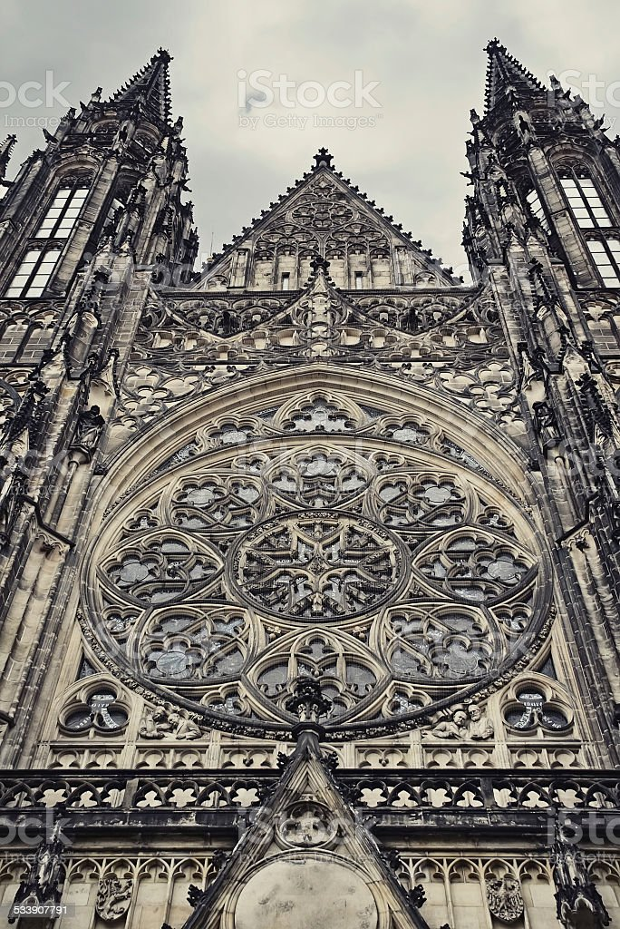 Detail of gothic St. Vitus Cathedral in Prague stock photo