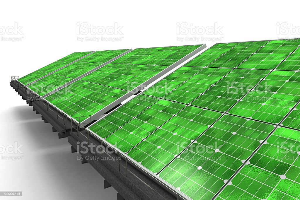 Detail of  green solar panels royalty-free stock photo