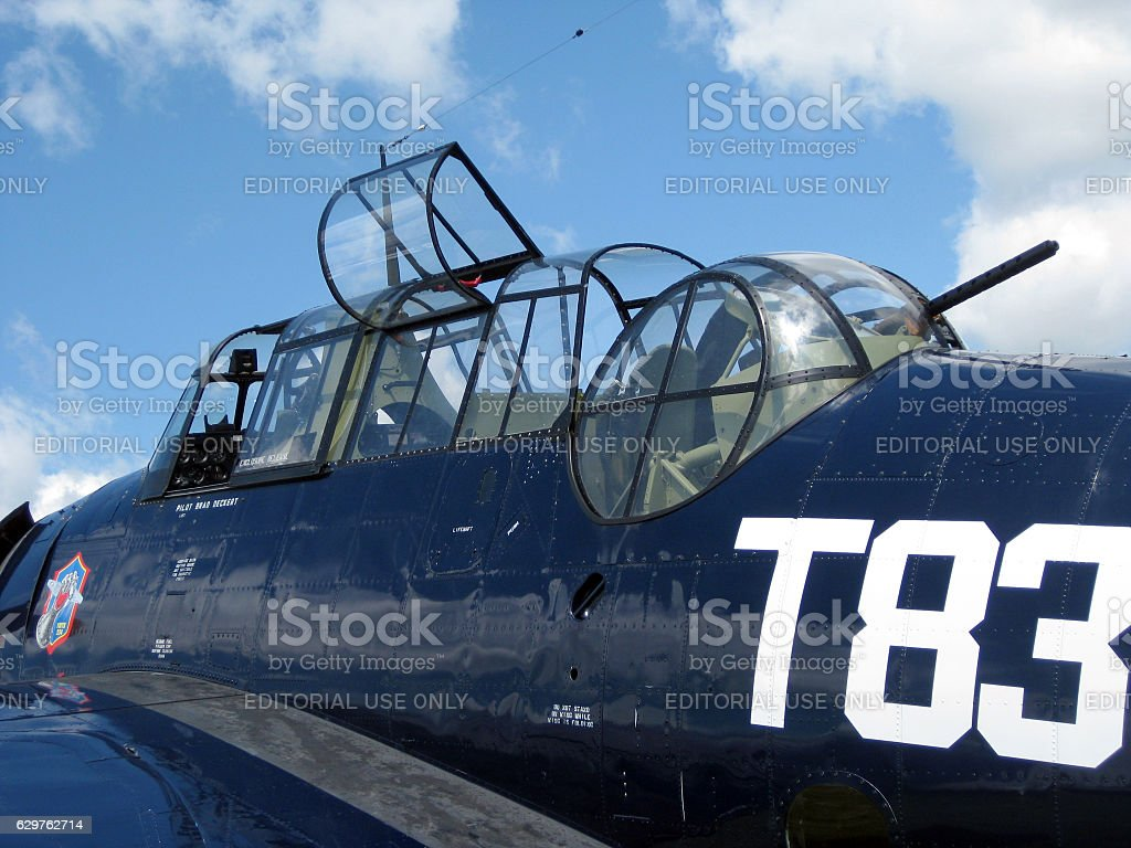 Detail of Grumman TBM Avenger military aircraft stock photo