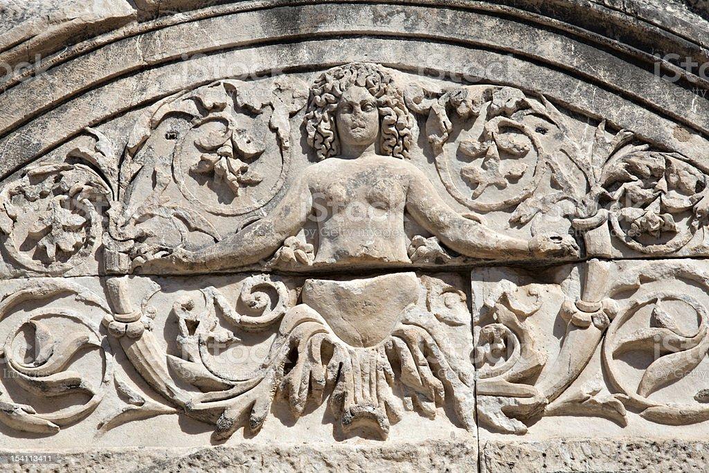Detail of Hadrian's Temple, Ephesus, Turkey royalty-free stock photo