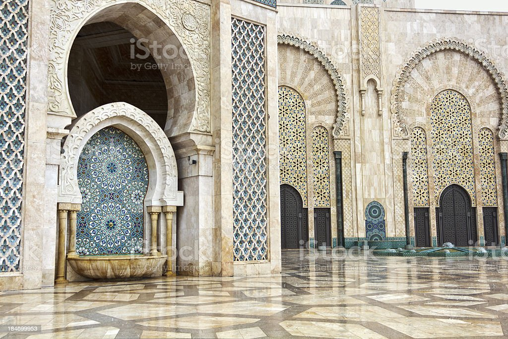 Detail of Hassan II Mosque in Casablanca, Morocco stock photo