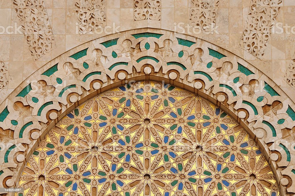Detail of Hassan II Mosque in Casablanca royalty-free stock photo
