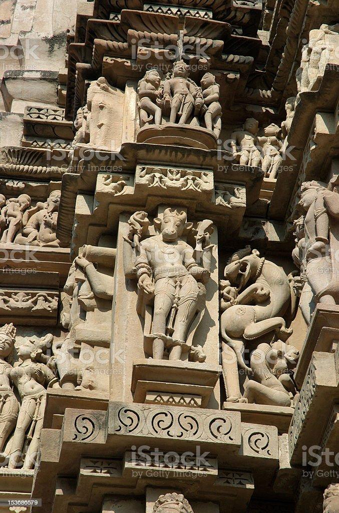 Detail of hindu temple in Khajuraho,India royalty-free stock photo