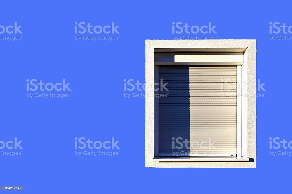 detail of house facade with window stock photo