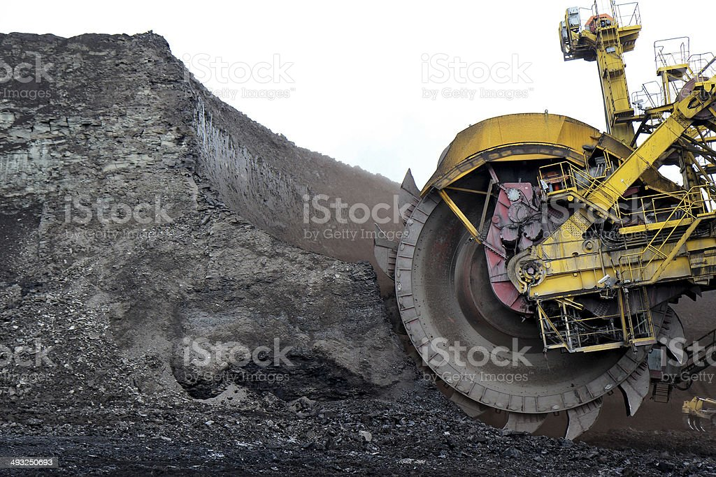 detail of huge coal excavator mining wheel stock photo