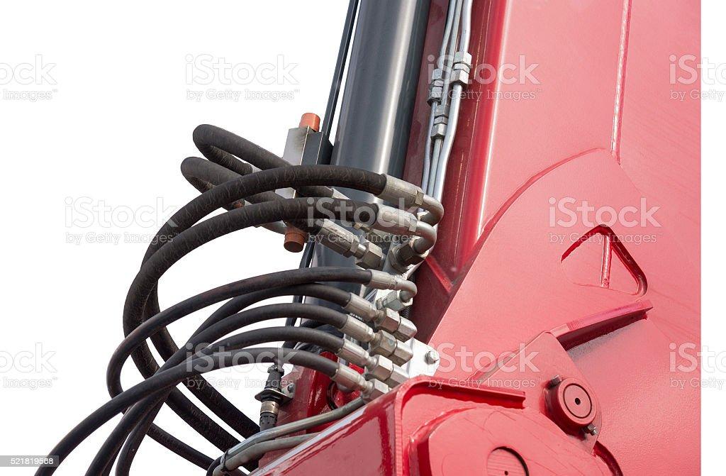 Detail of hydraulic bulldozer piston excavator arm stock photo