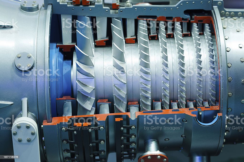 Detail of industrial gas turbine royalty-free stock photo