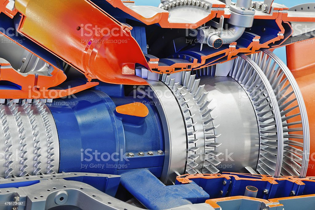 Detail of industrial gas turbine stock photo