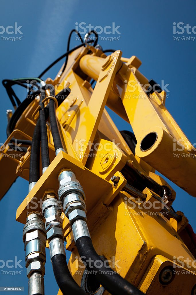 detail of industry engine hydraulics system stock photo