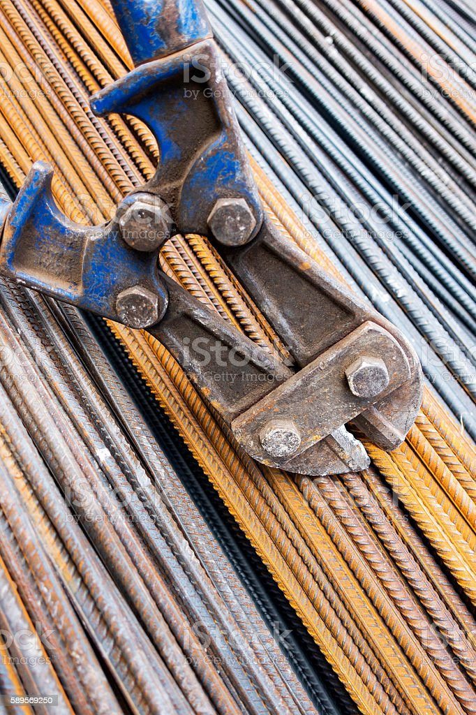 Detail of iron rebar in Construction stock photo