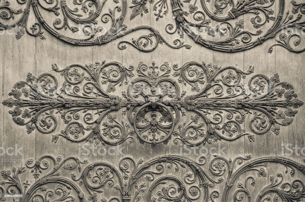 Detail of ironwork on front door of Notre Dame Cathedral stock photo