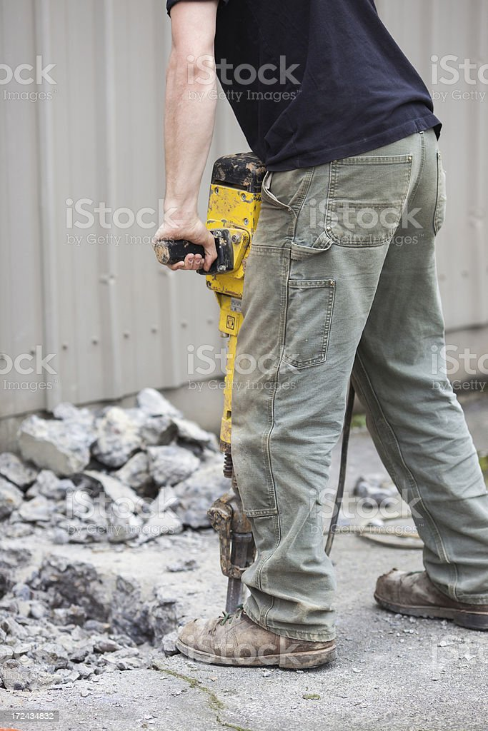 Detail of jackhammer in operation royalty-free stock photo