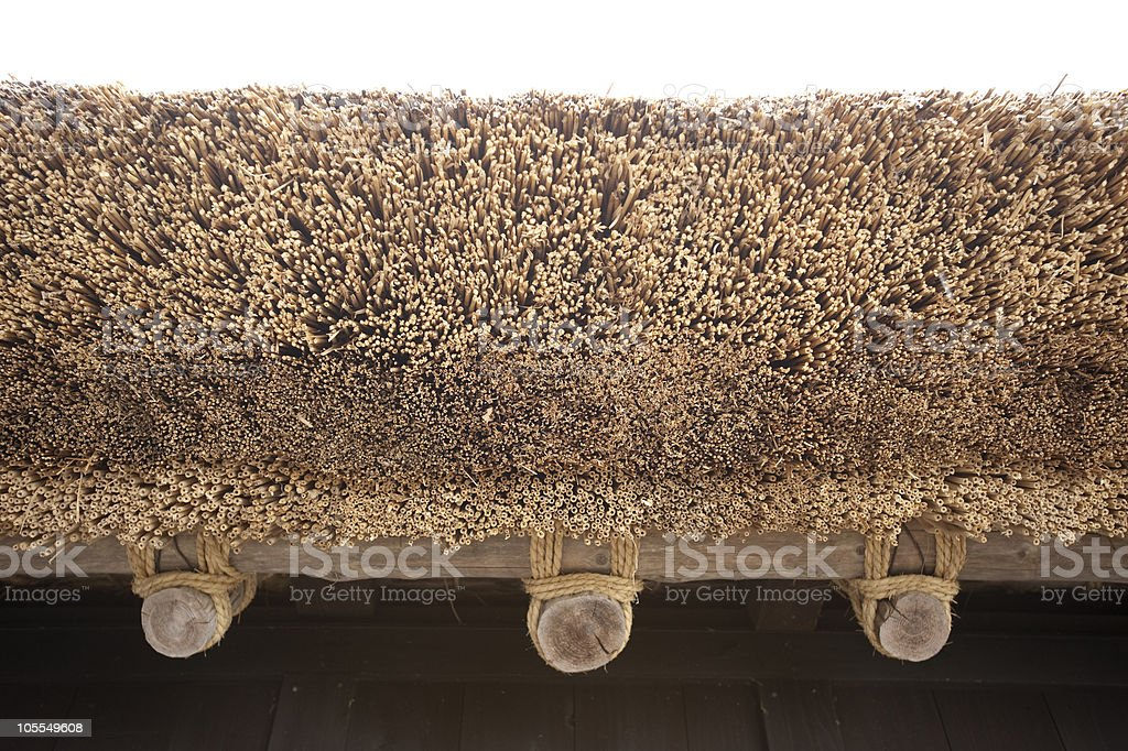 Detail of Japanese traditional thatched roof house stock photo