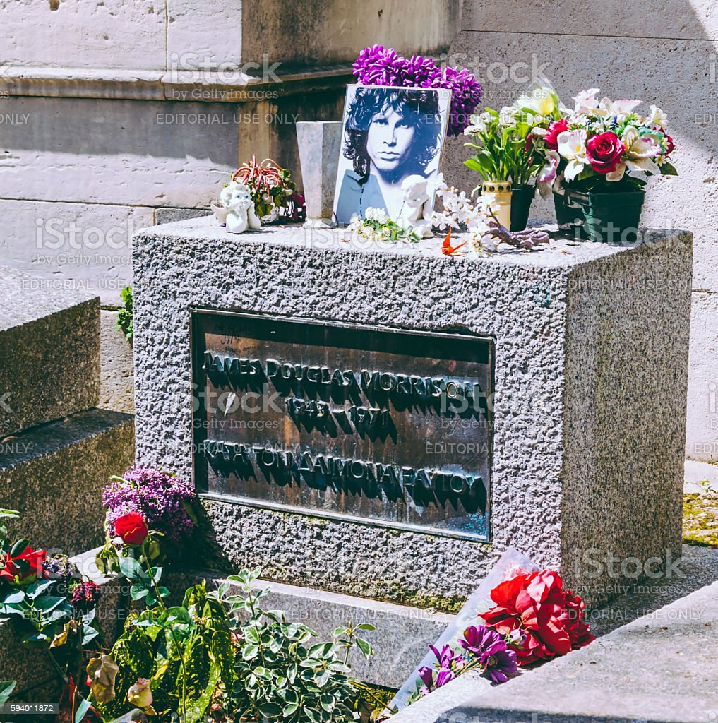 Detail of Jim Morrison's grave stock photo