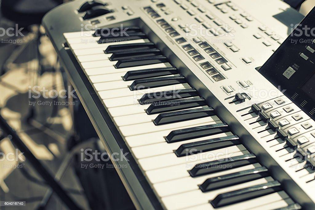 Detail of  keys on music keyboard stock photo