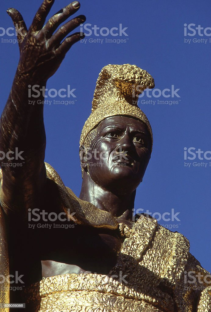 detail of King Kamehameha statue stock photo