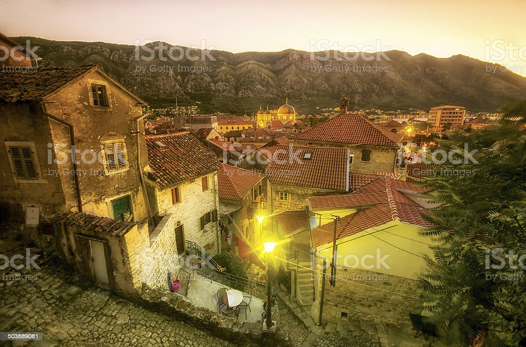Detail of Kotor old town at dusk Aerial view stock photo