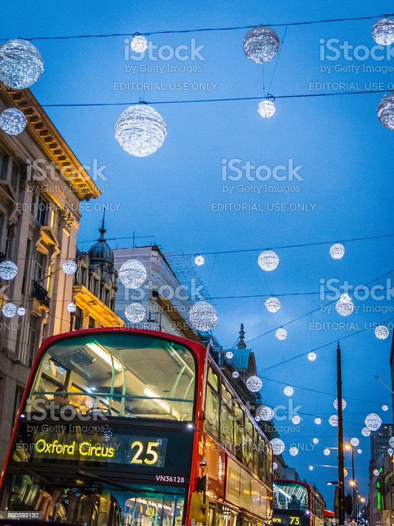 Detail of London bus and Christmas lights along Oxford Street stock photo