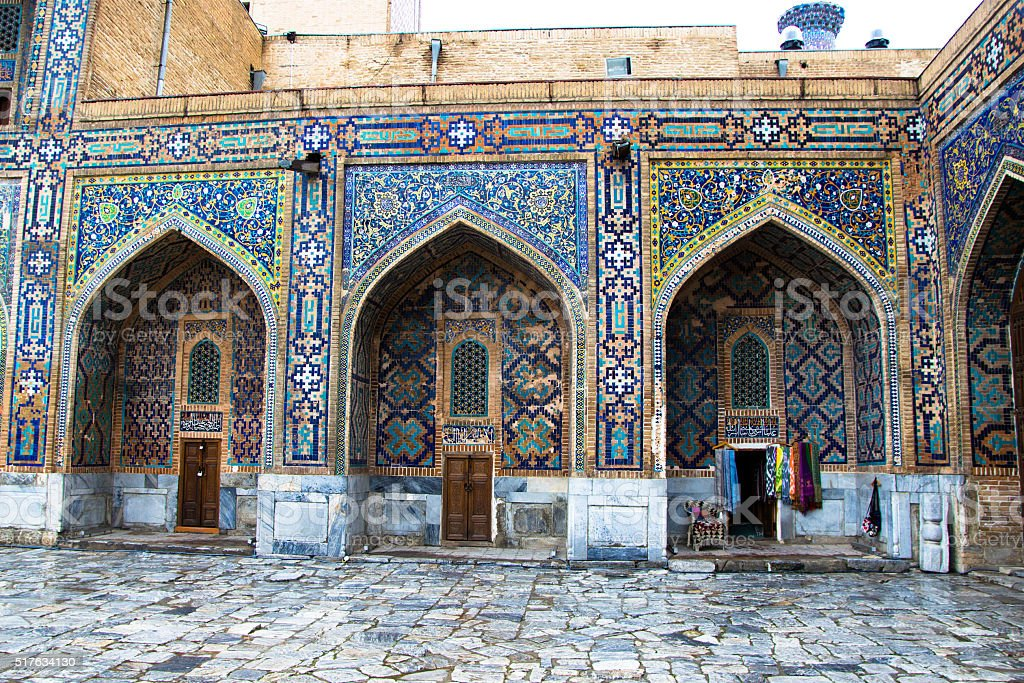 Detail of Madrasah, Registan square, Samarkand, Uzbekistan stock photo