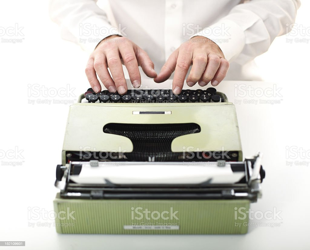 detail of man with typewriter stock photo