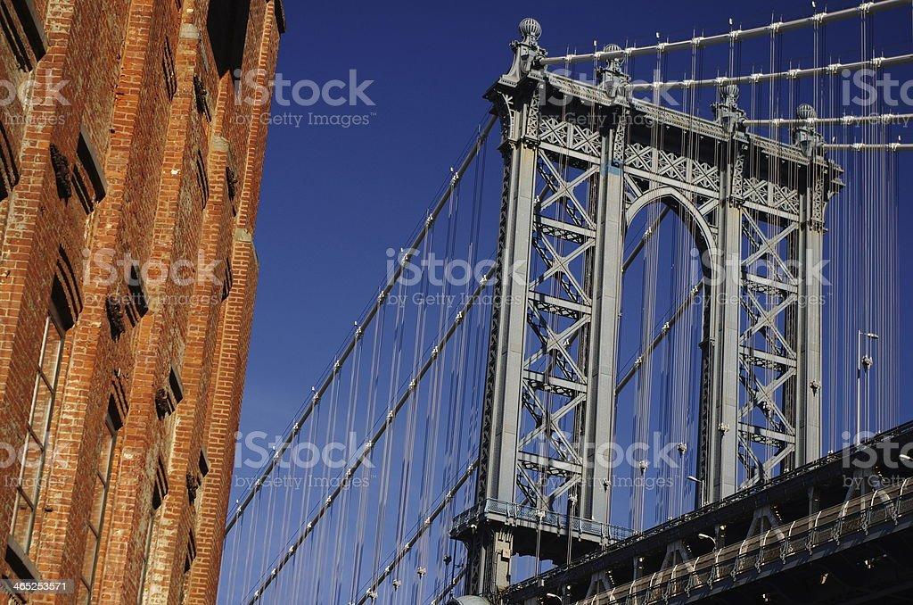Detail of Manhattan bridge stock photo
