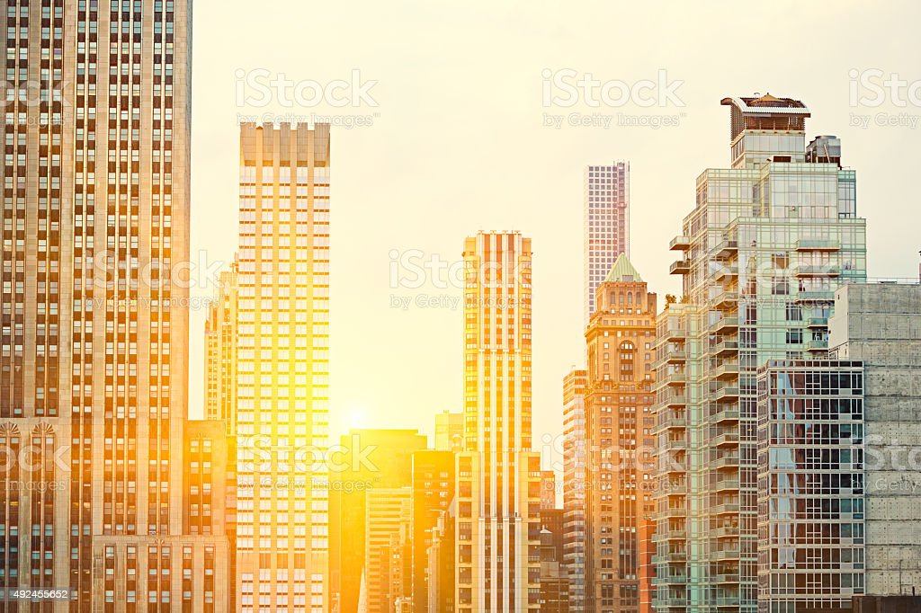 Detail of Manhattan buildings stock photo