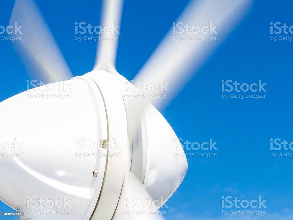 Detail of marine wind generator on boat stock photo