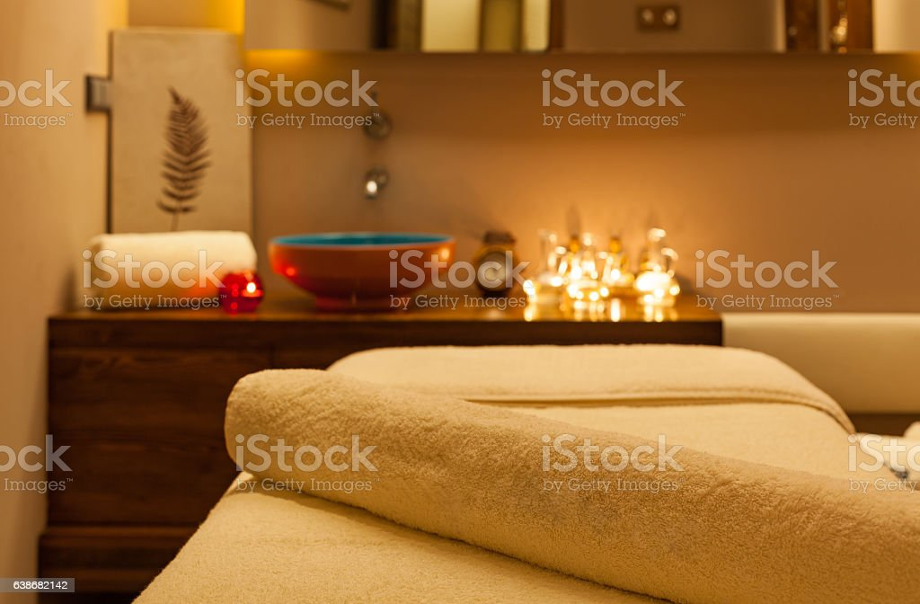 Detail of Massage room. Focus on towel stock photo